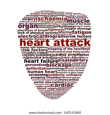 Heart attack medical symbol concept. Heart disease medical words icon design - stock photo