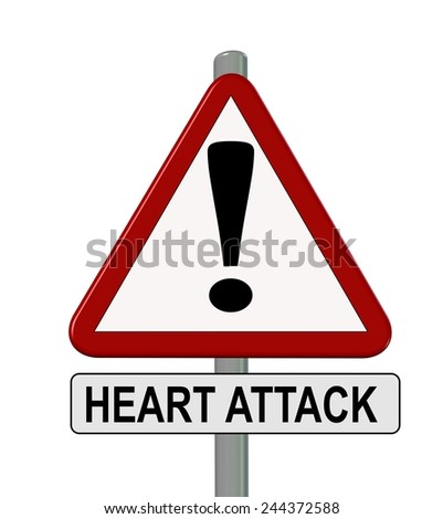 heart attack - traffic sign - prevention protect - stock photo