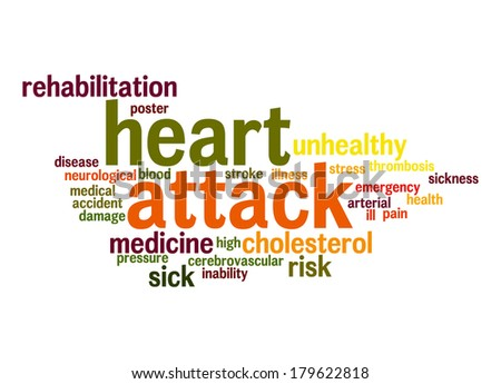 Heart attack word cloud - stock photo