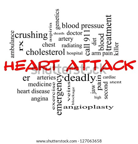Heart Attack Word Cloud Concept in red caps with great terms such as heart disease, rx, artery, doctor and more. - stock photo
