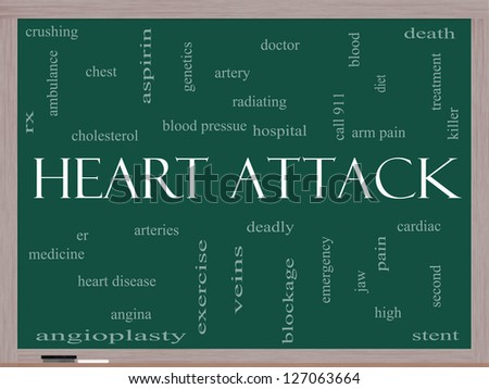 Heart Attack Word Cloud Concept on a Blackboard with great terms such as heart disease, rx, artery, doctor and more. - stock photo