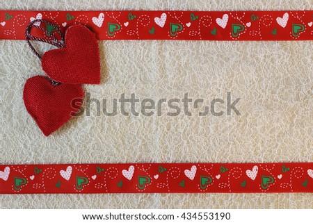 heart background fabric - stock photo