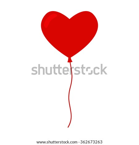 Heart balloon isolated icon. Color balloon. Red balloon. Big heart balloon with long ribbon. Balloon icon on white background. Balloon for valentine day and birthday party. Flat illustration.