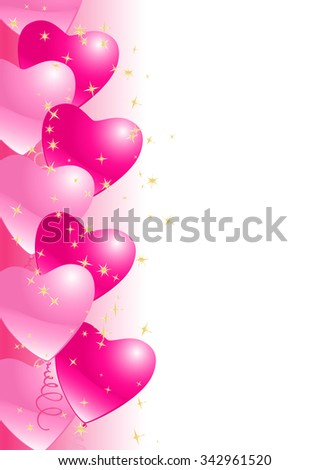 heart balloons border background with stars. JPG version - stock photo