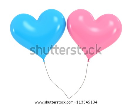 Heart Baloons - High quality Render with Clipping Path - stock photo