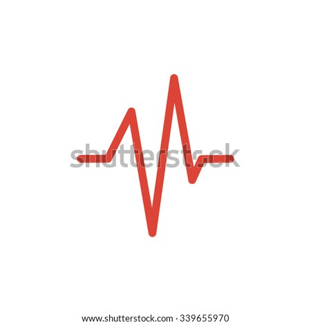 Heart beat, Cardiogram, Medical icon. Flat design style  - stock photo