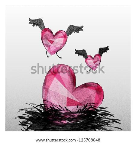 Heart birds fall in love - stock photo