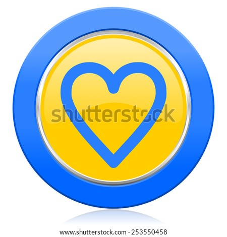 heart blue yellow icon love sign  - stock photo