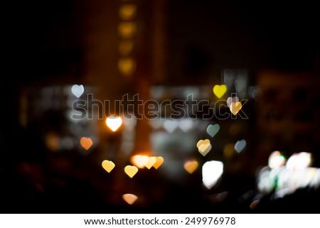 Heart bokeh in background blur. - stock photo
