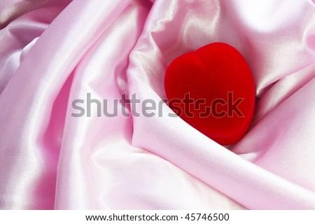 heart box on pink atlas - stock photo