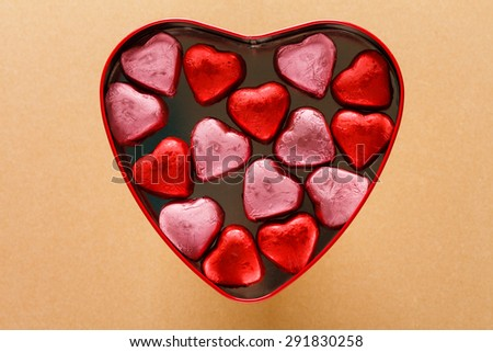 heart box with sweets - stock photo