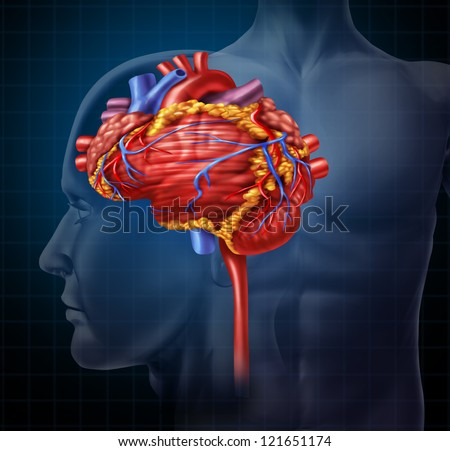 Heart brain shaped human organ as intelligence and research with a cardiovascular pumping blood as a medical and mental health care symbol for active neurons in the body on a black background.