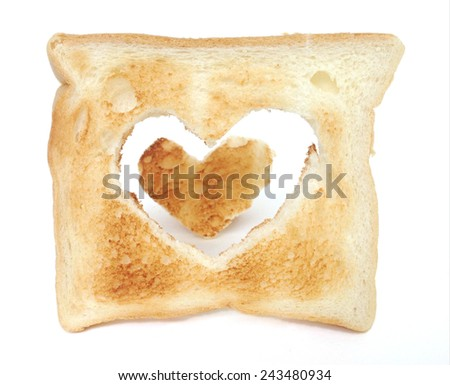 heart bread toast isolated on white