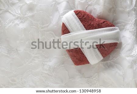 Heart Broken And Bandaged - stock photo