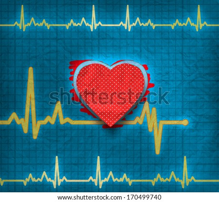 Heart cardiogram on paper