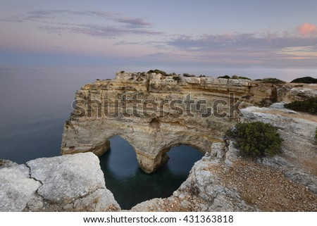 heart carved in the rock. Valentine's Day in Marinha Beach in the Algarve, southern Portugal. Amazing touristic spot.