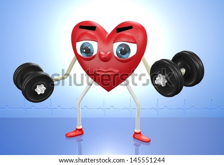 Heart character exercising with weights in both hands - stock photo