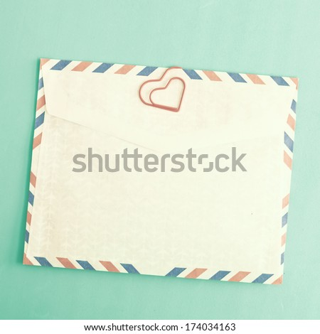 Heart clip and vintage envelopes