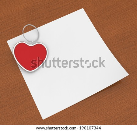 Heart Clip On Note Showing Affection Note Or Love Letter - stock photo