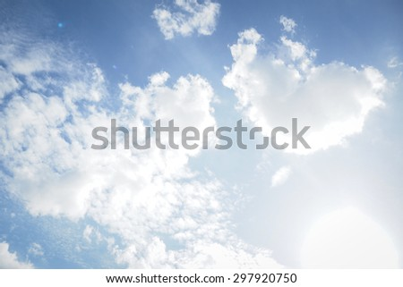 heart cloud in the bright sky on sunny day  - stock photo