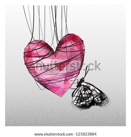 Heart cocoon fall in love - stock photo