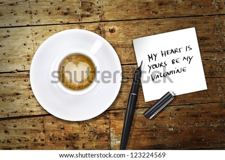 Heart coffee pen notes stock photo 123224569 shutterstock heart coffee with pen and notes voltagebd Images