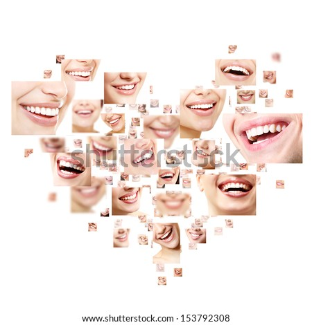 Heart collage of perfect smiles. Set of beautiful wide human smiles with great healthy white teeth. Isolated over white background  - stock photo