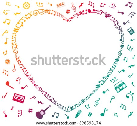 Heart collected from musical notes isolated on white - stock photo