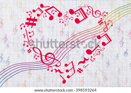 Heart collected from musical notes on light background - stock photo