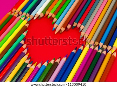 heart, color pencils - stock photo