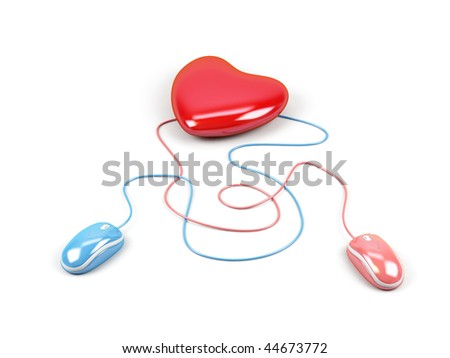Heart connected to a two computer mouse. 3d image. - stock photo
