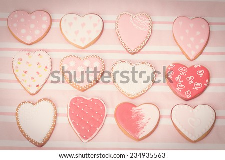 heart cookies and presents, party feeling