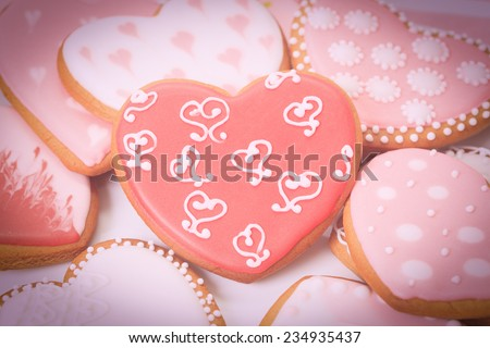 heart cookies, celebration and party