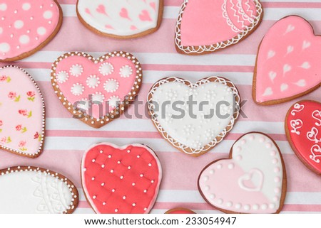 heart cookies on pink, celebration and party