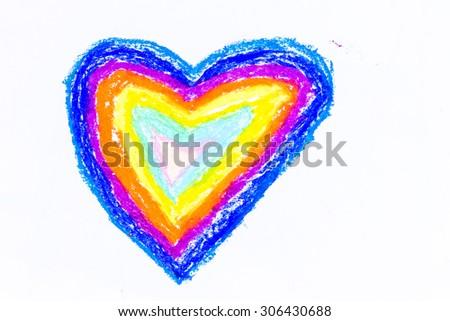 heart crayon on white background - stock photo