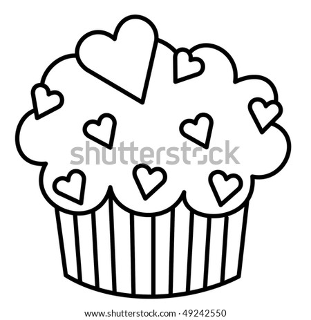Heart Cupcake - stock photo
