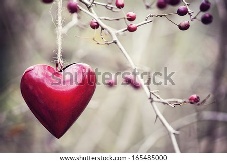 Heart decoration in vintage colors - stock photo