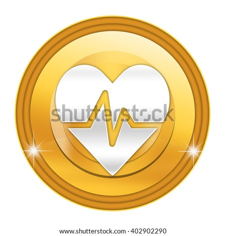 Heart diagnostics button isolated - stock photo