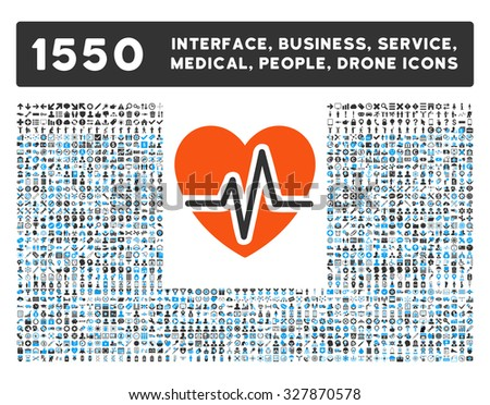 Heart Diagram and other web interface, business tools, people poses, medical service glyph icons. Style is flat symbols, bicolored, rounded angles, white background.