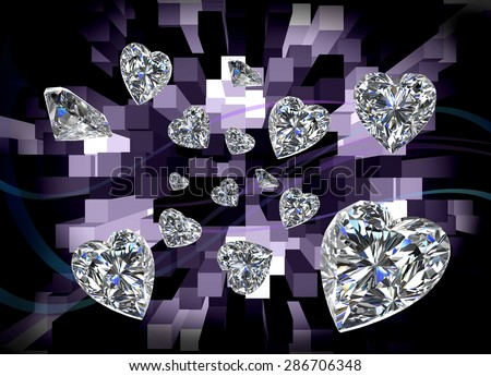 Heart Diamonds with Abstract Background - stock photo