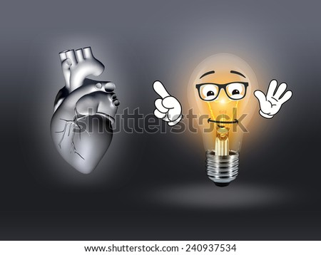 heart disease 3d anatomy illustration bulb gray - stock photo
