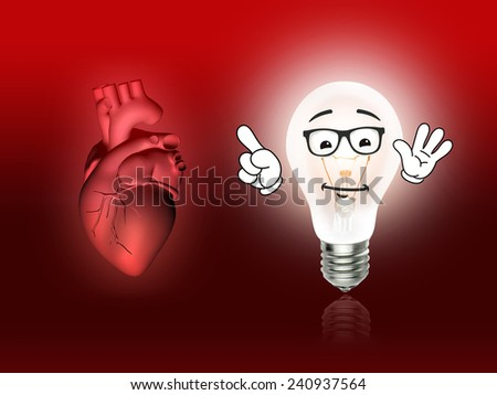heart disease 3d anatomy illustration bulb red - stock photo