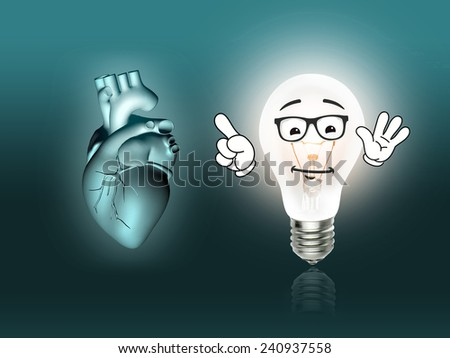 heart disease 3d anatomy illustration bulb turquoise - stock photo