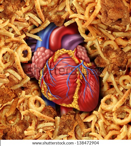 Heart disease food medical health care concept with a human heart organ surrounded by groups of greasy cholesterol rich fried foods as a symbol of arteries clogging due to fat in the diet. - stock photo