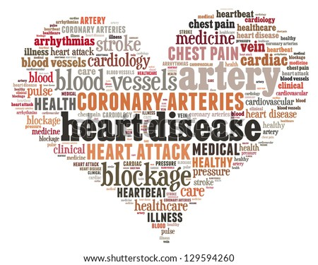 Heart disease in word collage - stock photo