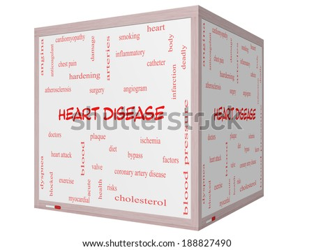 Heart Disease Word Cloud Concept on a 3D cube Whiteboard with great terms such as plaque, ischemia, factors and more. - stock photo