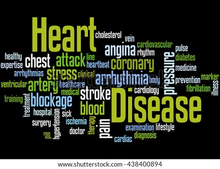Heart Disease, word cloud concept on white background.