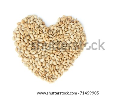 Heart draw with small seed as white isolate background
