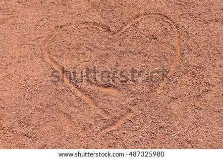 Heart Drawing on Red Sand at Red Rock State Park in Sedona, AZ USA