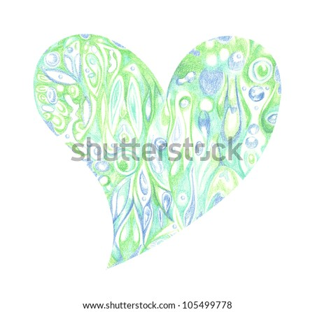 Heart drawn with colored pencils - stock photo